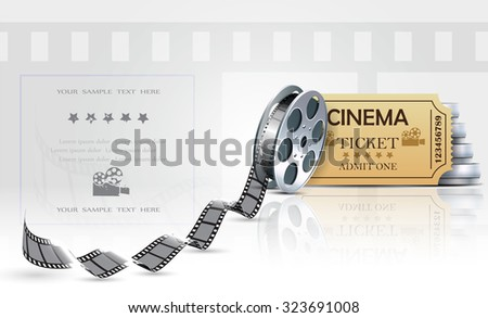 Cinema background with ticket and cinema films. - stock vector