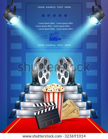 Cinema background with tickets, popcorn and cinema films. - stock vector
