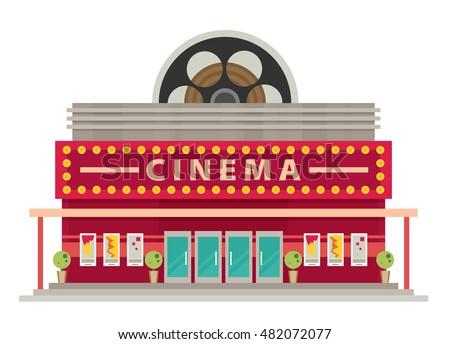 Cinema Hall Stock Images, Royalty-Free Images & Vectors ...  Cinema Building Cartoon