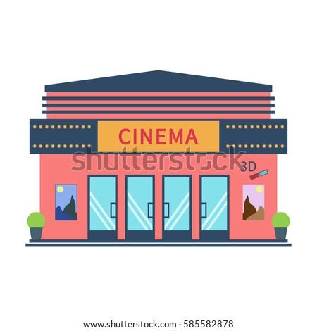 Vector Shop Store Building Illustration Stock Vector ...  Cinema Building Cartoon