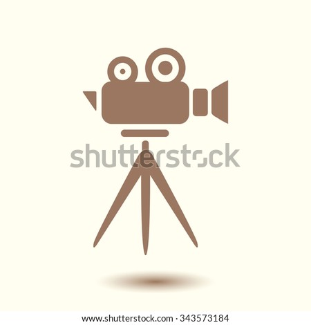 Cinema camera icon. Flat design style. Vector EPS 10.