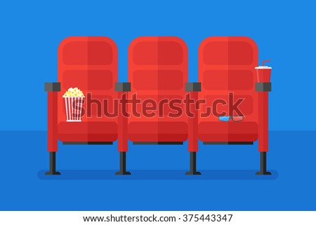 Cinema Chairs With Popcorn, Soda And 3d Glasses. Flat Style Horizontal  Banner. Vector