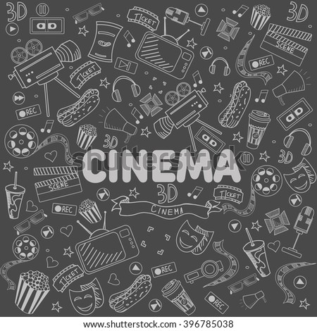 Cinema chalk line art design vector illustration. Separate objects. Hand drawn doodle design elements.