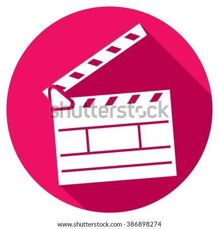 cinema clapboard flat icon - stock vector
