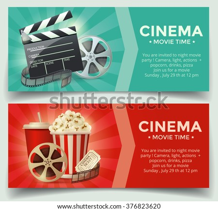 Cinema concept poster template with popcorn bowl, film strip and tickets, realistic detailed vector illustration - stock vector