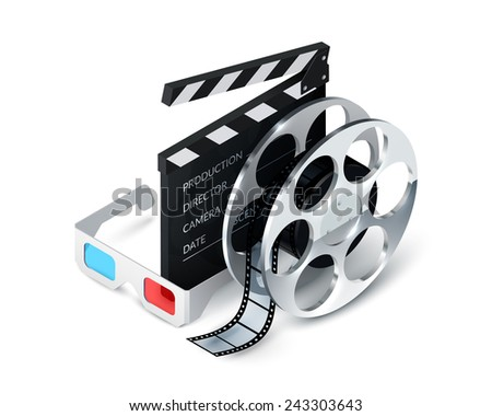 Cinema concept realistic with 3d glasses film strip clapper decorative icons vector illustration