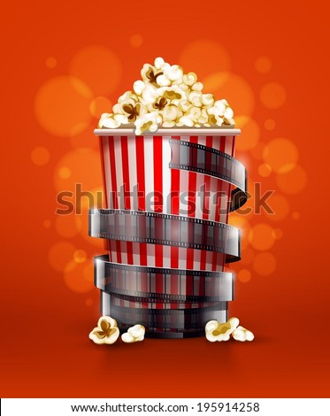 cinema concept with paper bucket with popcorn and movie film tape. Eps10 vector illustration. - stock vector