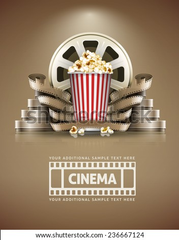 Cinema concept with popcorn and cinefilmss retro style. Eps10 vector illustration - stock vector