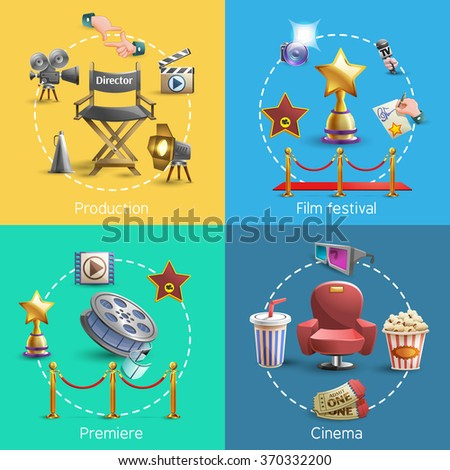 Cinema design concept set with cinema premiere icons isolated vector illustration