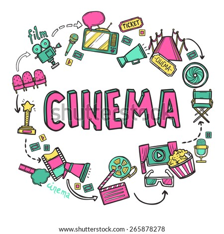 Cinema design concept with hand drawn movie art icons set vector illustration - stock vector