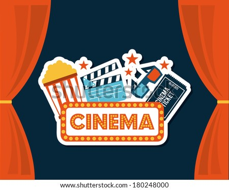 cinema design over blue background vector illustration - stock vector