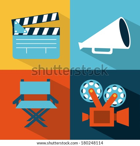 cinema design over colors background vector illustration - stock vector