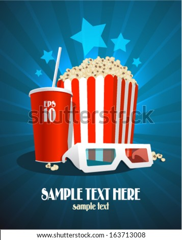 Cinema design template with popcorn box, cola and 3D glasses. - stock vector