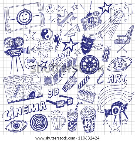cinema doodles - stock vector