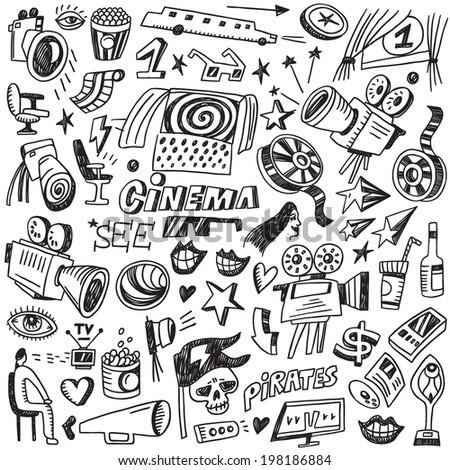Cinema doodles  - stock vector