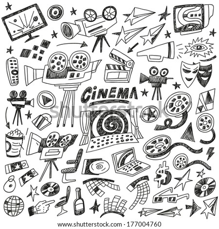 cinema doodles , set vector icons in sketch style - stock vector