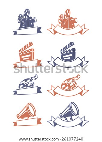 Cinema emblems. Vector illustration.
