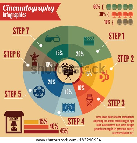 Cinema entertainment business infographics design elements for presentation layout with icons and charts vector illustration - stock vector