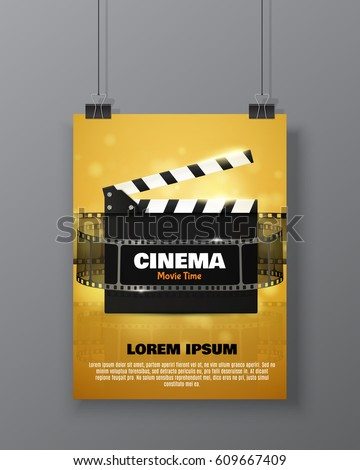 cinema festival flyer or poster with movie reel and clapper board vector illustration of film