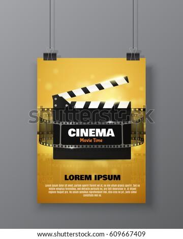 Cinema Festival Flyer Poster Movie Reel Stock Vector 2018