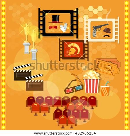 Cinema festival movie design elements clapper popcorn vector illustration - stock vector