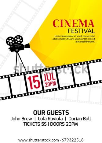 Cinema festival poster template. Vector camcorder and line videotape illustration. Movie festival art background
