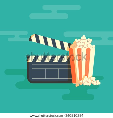 Cinema festival poster with a bag of popcorn and a black cinema clapper board silhouette in center and attributes of film industry vector illustration. Horizontal banner