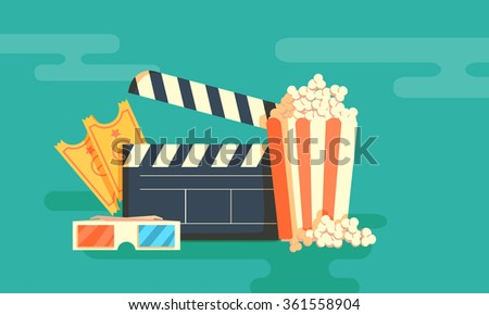 Cinema festival poster with a bag of popcorn and a black cinema clapper board silhouette in center and attributes of film industry vector illustration. Horizontal banner - stock vector