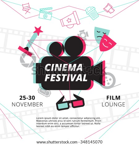 Cinema festival poster with camcorder silhouette in center and attributes of film industry vector illustration - stock vector