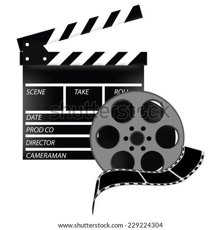 Cinema flap, celluloid, cine film, cinema flap vector, film strip - stock vector