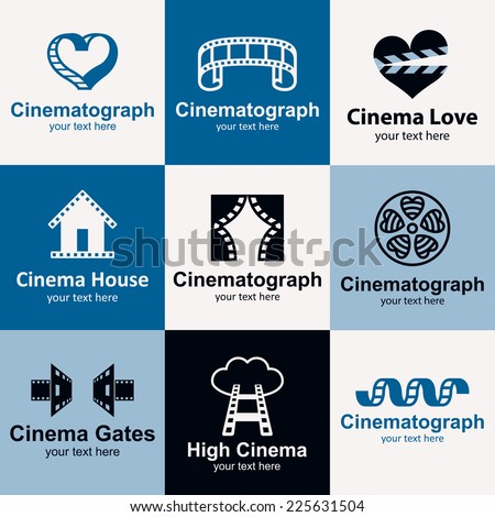 Cinema flat icons set logo ideas for brand - stock vector