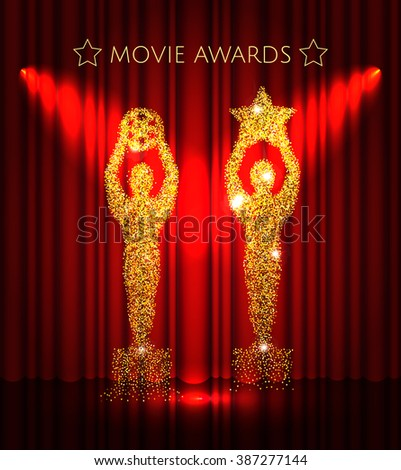 Cinema gold glitter awards set with stars on the  red curtain  background