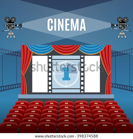 Cinema Hall Design Over Blue Background. Detailed Vector Illustration. - stock vector