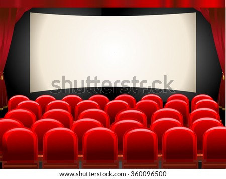 Cinema hall. Empty cinema screen with audience