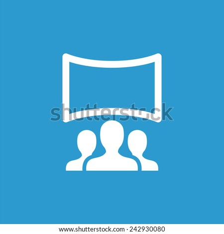 Cinema hall icon, isolated, white on the blue background. Exclusive Symbols  - stock vector
