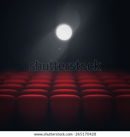 Cinema hall, light projector, eps 10 - stock vector