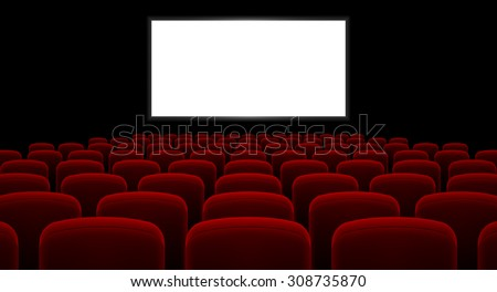 Cinema hall with white screen and red row chairs - stock vector