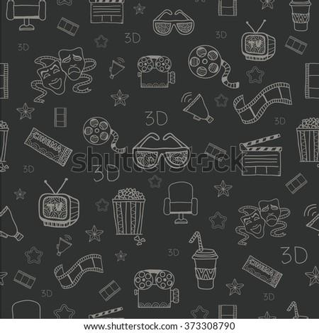 Cinema. Hand drawn seamless pattern.  - stock vector