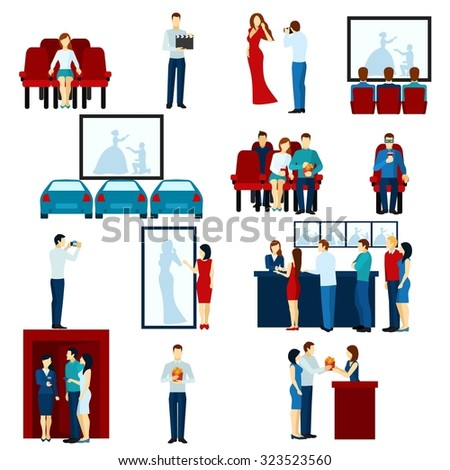Cinema house film show flat icons set with drive-in and tickets line banner abstract isolated vector illustration - stock vector