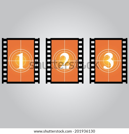 Cinema icon, orange filmstrip frame with figures. Vector illustration. - stock vector
