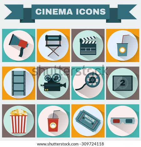 Cinema icon set. Making Movie. Camera, Movie  Ticket, Clapper board, Director's Seat, Loudhailer, Cocktail glass with tube, Film reel, 3D Glasses, Countdown screen, Popcorn. Vector illustration. - stock vector