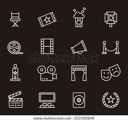 Cinema icons - stock vector