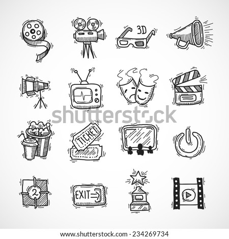 Cinema icons hand drawn set with film strip clapperboard ticket isolated vector illustration - stock vector