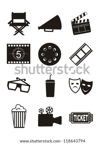 cinema icons over white background. vector illustration - stock vector