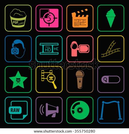 Cinema icons set. Cinema icons flat. Cinema icons. Cinema set app. Cinema set vector. Cinema set eps. Cinema icons UI. Cinema icons sign. Cinema icons art. Cinema set. Cinema set logo. Cinema set web. - stock vector