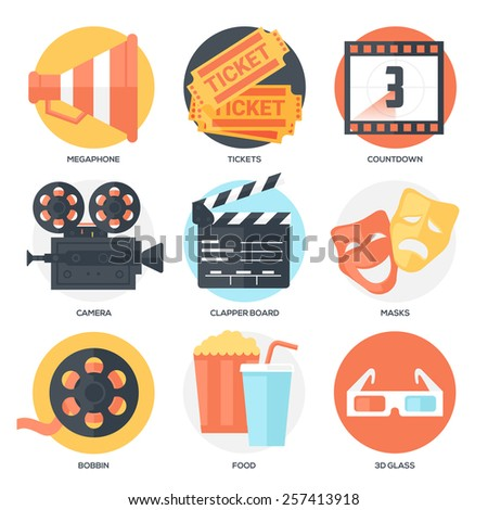 Cinema Icons Set (Megaphone, Tickets, Countdown, Camera, Clapper Board, Masks, Bobbin, Popcorn and Drink, Glasses). Flat Style with Long Shadows. Clean Design. Vector Illustration. - stock vector