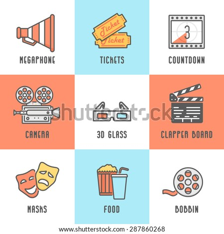 Cinema Icons Set (Megaphone, Tickets, Countdown, Camera, Clapper Board, Masks, Bobbin, Popcorn and Drink, 3D Glass). Trendy Thin Line Design with Flat Elements. Vector Illustration. - stock vector