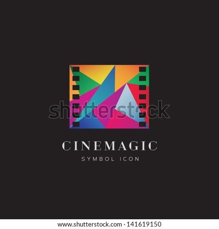 Cinema magic logo template - stock vector