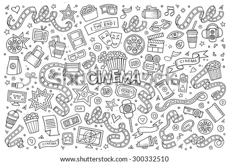 Cinema, movie, film doodles hand drawn sketchy vector symbols and objects - stock vector
