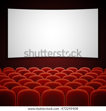 Cinema movie hall with white blank screen. Empty interior for presentation new film. Vector illustration
